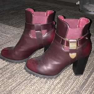 Shoes - Burgundy and gold heeled boots